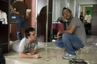 Director Todd Phillips and Ed Helms on the set of