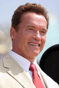 Arnold Schwarzenegger at Disneyland's 50th Anniversary rededication ceremony in California.