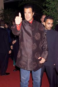 Steven Seagal at the Arista Records pre-Grammy party.
