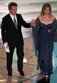 Barbra Streisand and Dustin Hoffman at the 77th Annual Academy Awards.