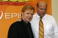 David Caruso and Rex Linn at the CSI Miami 100th Episode Cake Cutting Party.