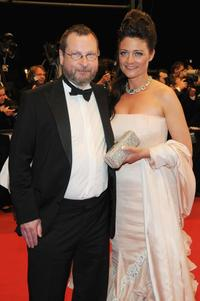 Lars von Trier and Bente Froge at the premiere of