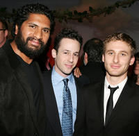 Sala Baker, designer Michael Kovac and Dean O'Gorman at the cocktail reception during the 5th Annual Celebration of New Zealand Filmmaking and Creative Talent in California.