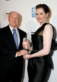 Geena Davis and Craig A. Moon, president and publisher of USA Today at the USA Today Hollywood Hero.