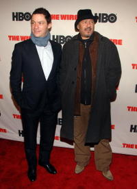 Dominic West and Clark Johnson at the premiere of