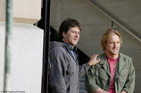 Director Steven Brill and Owen Wilson on the set of