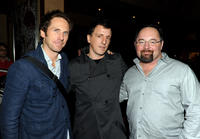 Editor Kirk Baxter, composer Atticus Ross and Jeff Cronenweth at the Blu-ray & DVD launch party of
