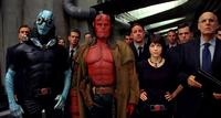 Members of the BPRD—aquatic empathy Abe (Doug Jones), Hellboy (Ron Perlman) and the pyrokinetic Liz (Selma Blair)—are joined by BPRD chief Tom Manning (Jeffrey Tambor) in