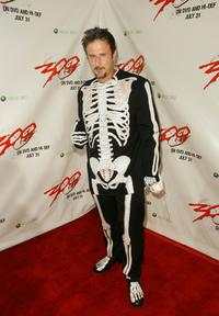 David Arquette poses for photographers at the DVD release party for the '300' held at Petco Park Stadium.