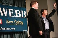 Michael J. Fox and Jim Webb at the campaign rally for Democratic U.S. Senate.