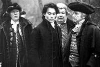 Michael Gambon as Baltus Van Tassel, Johnny Depp as Ichabod Crane, Richard Griffiths as Magistrate Philipse and Ian McDiarmid as Doctor Lancaster in ``Sleepy Hollow.''