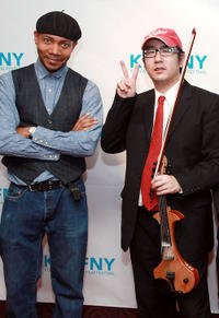 DJ Spooky and violinists Eugene Park at the premiere of