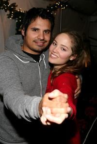 Michael Pena and Erika Christensen at the Church of Scientology's Christmas Stories XV benefiting the Hollywood Police Activities League.