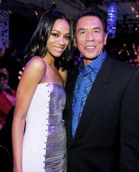 Zoe Saldana and Wes Studi at the after party of the California premiere of