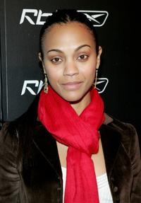 Zoe Saldana at the Reebok's Now Playing news conference and launch party.