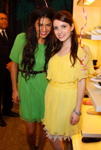 Jessica Szohr and Emma Roberts at the opening party for Juicy Couture's 5th Avenue flagship store at Juicy Couture boutique.