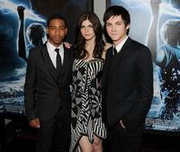 Brandon T. Jackson, Alexandra Daddario and Logan Lerman at the premiere of
