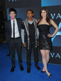 Logan Lerman, Brandon T. Jackson and Alexandra Daddario at the Los Angeles premiere of