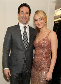 Jon Hamm and Jennifer Lawrence at the 16th Annual Critics' Choice Movie Awards.
