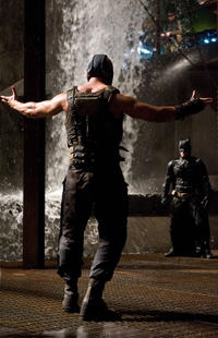 Tom Hardy as Bane and Christian Bale as Batman in
