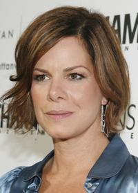 Marcia Gay Harden at the Volvo store opening celebration with Hamptons Magazine.