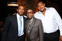 Laz Alonso, director Spike Lee and Omar Benson Miller at the pre-party premiere of