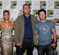 Eva Mendes, Adam McKay and Mark Wahlberg at the press conference of