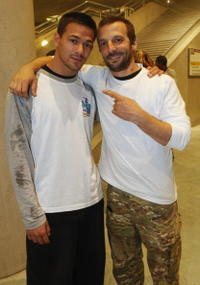 Rudy and Mathieu Kassovitz at the Airwaves Big Box Parkour Night.