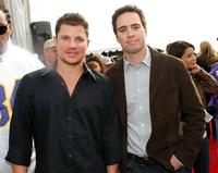 Nick Lachey and Jimmie Johnson at the Super Bowl XLII red carpet.