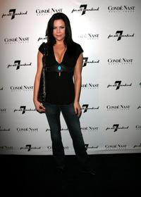 Christa Campbell at the 7 For All Mankind first retail store opening.