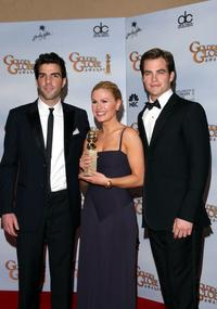 Zachary Quinto, Anna Paquin and Chris Pine at the 66th Annual Golden Globe Awards.