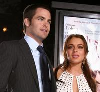 Chris Pine and Lindsay Lohan at the premiere of