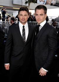Karl Urban and Chris Pine at the Los Angeles premiere of