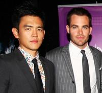 John Cho and Chris Pine at the premiere of