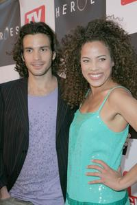 Santiago Cabrera and Tawny Cypress at the celebration for the wrap of season one for NBC's