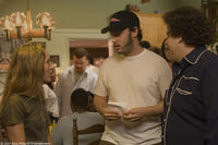Producer Shauna Robertson, screenwriter/executive producer Evan Goldberg and Jonah Hill on the set of