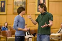 Zac Efron and Director Burr Steers on the set of