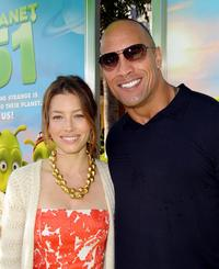 Jessica Biel and Dwayne Johnson at the California premiere of