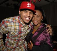 Chris Brown and Jenifer Lewis at the after party following the premiere of