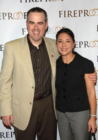 Alex Kendrick and Kristina at the premiere of