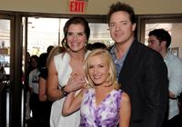 Brooke Shields, Angela Kinsey and Brendan Fraser at the premiere of