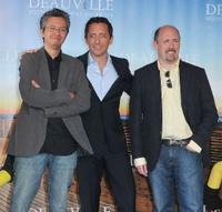 Pierre Coffin, Gad Elmaleh and Chris Renaud at the photocall for