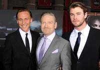 Tom Hiddleston, director Kenneth Branagh and Chris Hemsworth at the California  premiere of