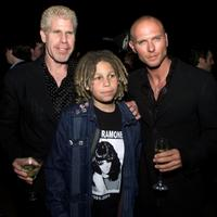 Ron Perlman, Brandon and Luke Goss at the premiere of