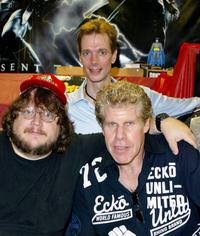 Guillermo del Toro, Doug Jones and Ron Perlman at the Golden Apple Comic Store.