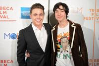 Jesse McCartney and Ezra Miller at the premiere of