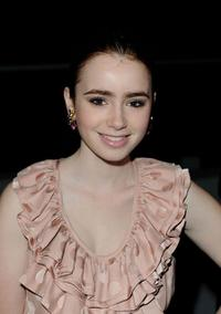 Lily Collins at the London Fashion Week.