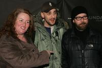 Rusty Schwimmer, director Julian Goldberger and Paul Giamatti at the premiere of