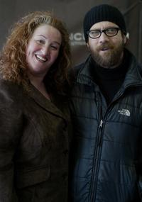 Rusty Schwimmer and Paul Giamatti at the premiere of