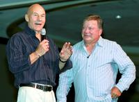 Patrick Stewart and William Shatner at the Las Vegas Star Trek convention.